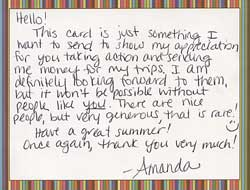 Thank you card from Amanda Krieger